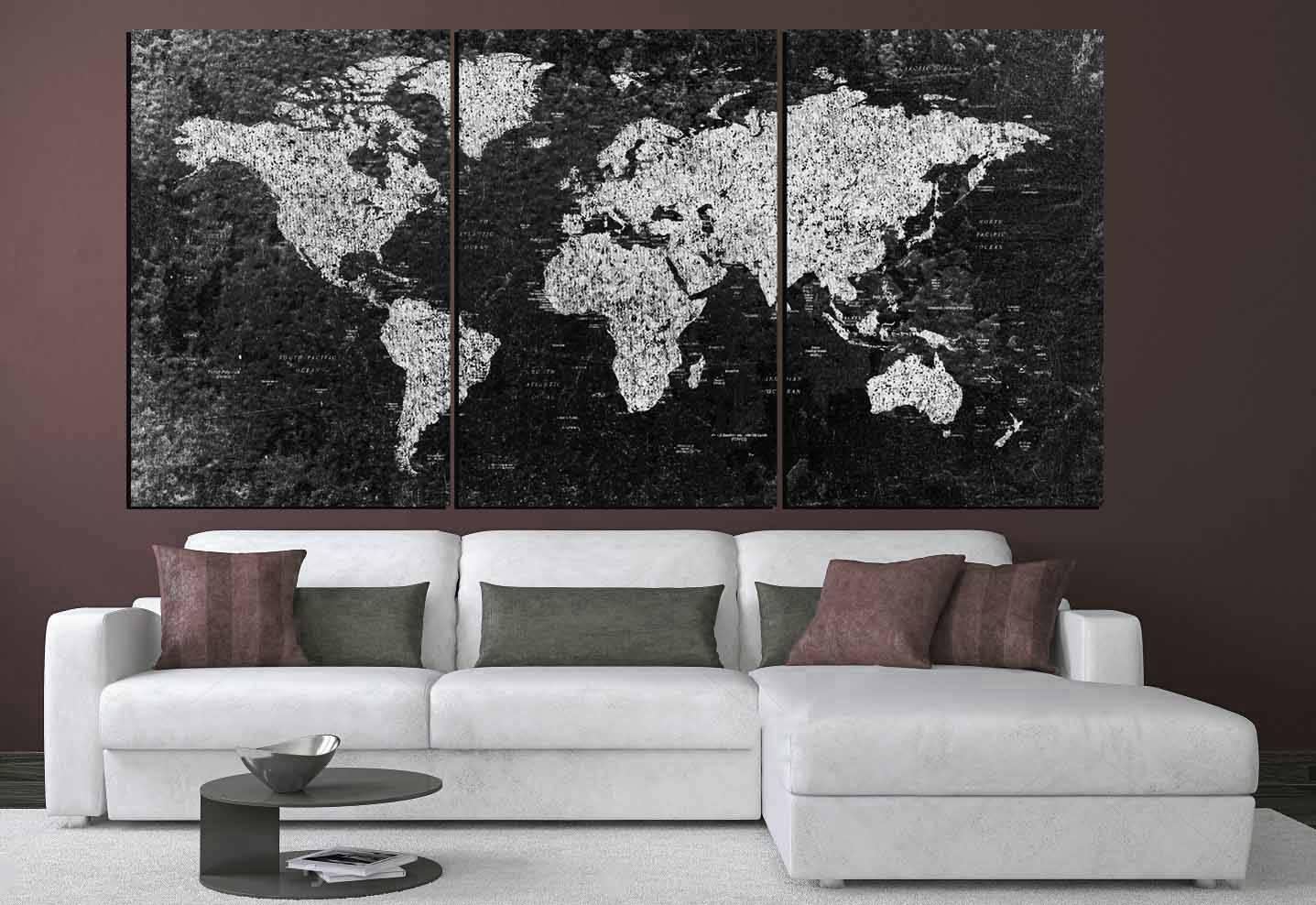 World Map, Large Black And White World Map,,world Map Canvas With Regard To Large Black And White Wall Art (View 12 of 20)