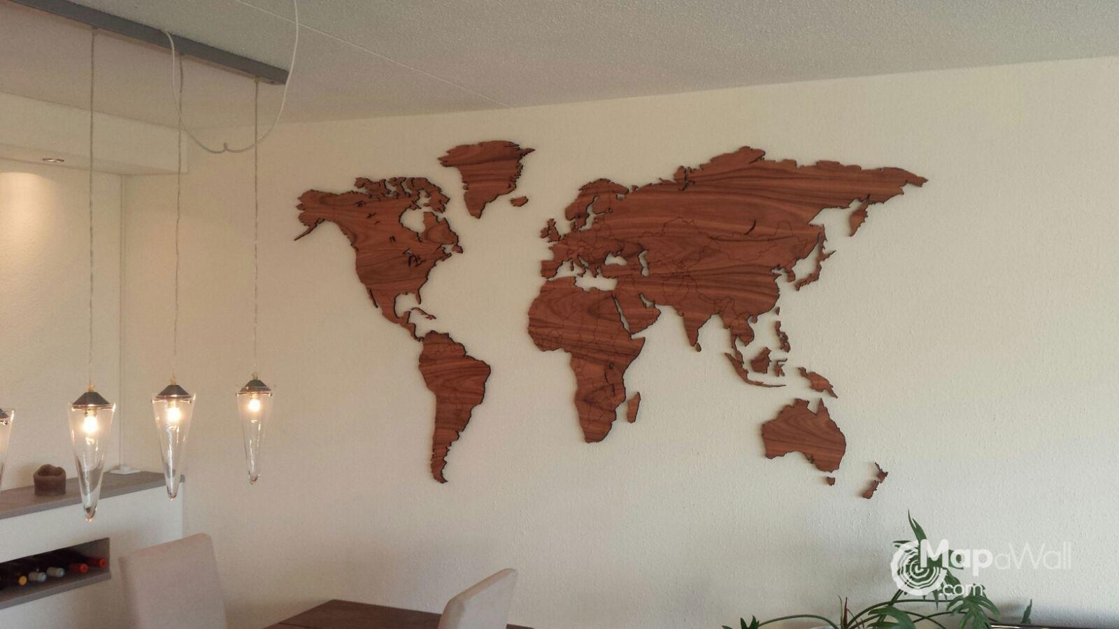 World Map Palisander – Mapawall For Wooden World Map Wall Art (View 7 of 20)