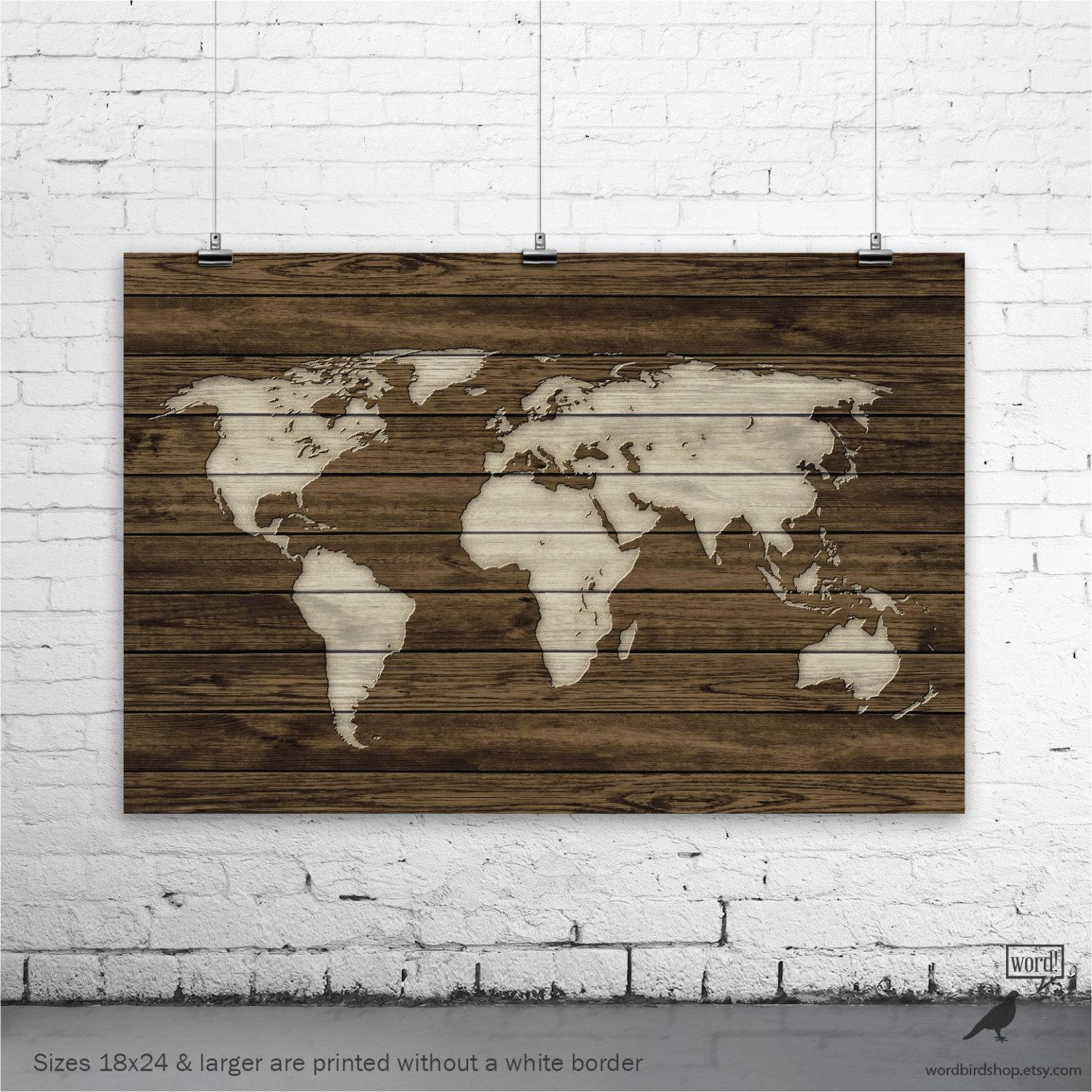 World Map Poster Rustic Map Poster Rustic Decor Rustic Wall For World Map Wood Wall Art (Image 15 of 20)
