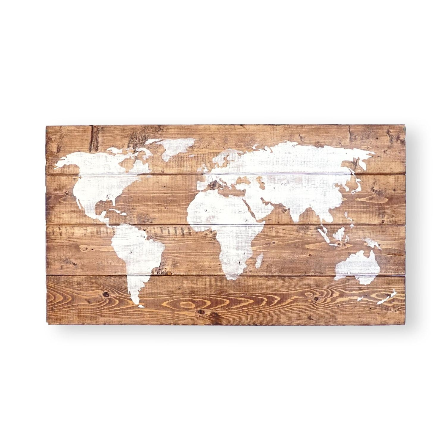 World Map Push Pin Travel Theme Decor Nursery World Map Within World Map Wood Wall Art (Image 16 of 20)