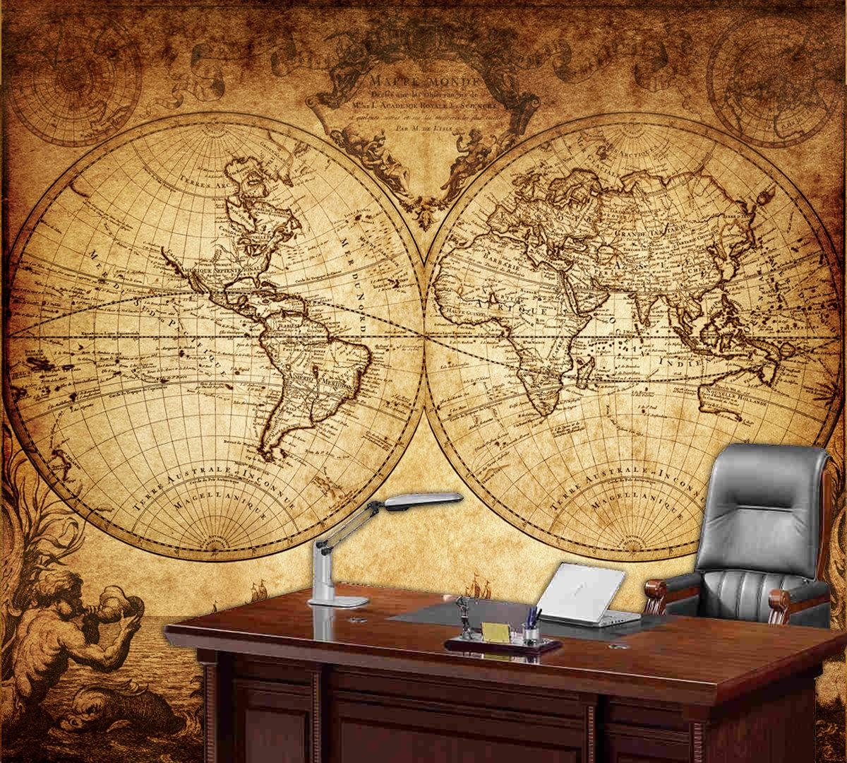 World Map Wall Mural Vintage Old Map Of The World 1733 For Old World Map Wall Art (Image 20 of 20)