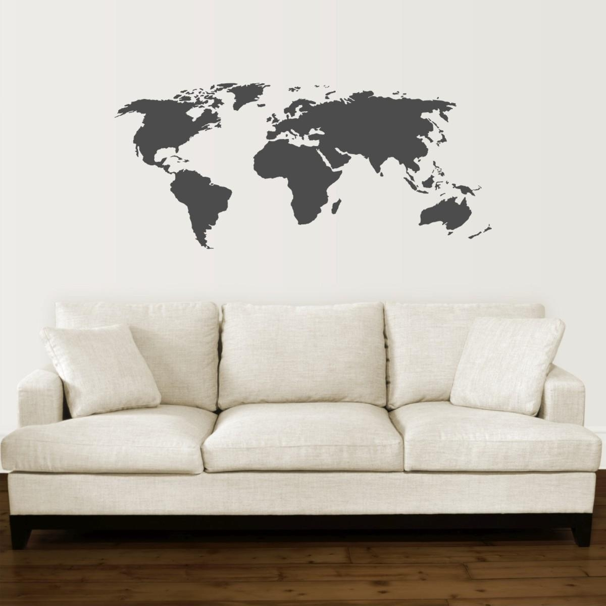 World Map Wall Quotes™ Wall Art Decal | Wallquotes Regarding Maps For Wall Art (View 11 of 20)
