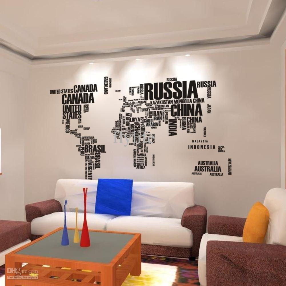 World Map Wall Stickers , Home Art Wall Decor Decals For Living Inside World Wall Art (Image 20 of 20)