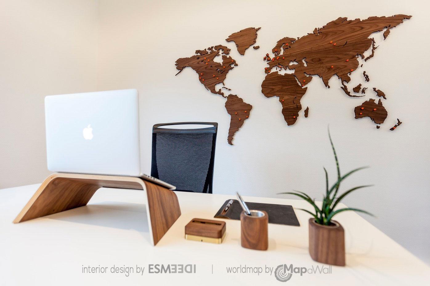 World Map Walnut – Mapawall For Wooden World Map Wall Art (View 4 of 20)