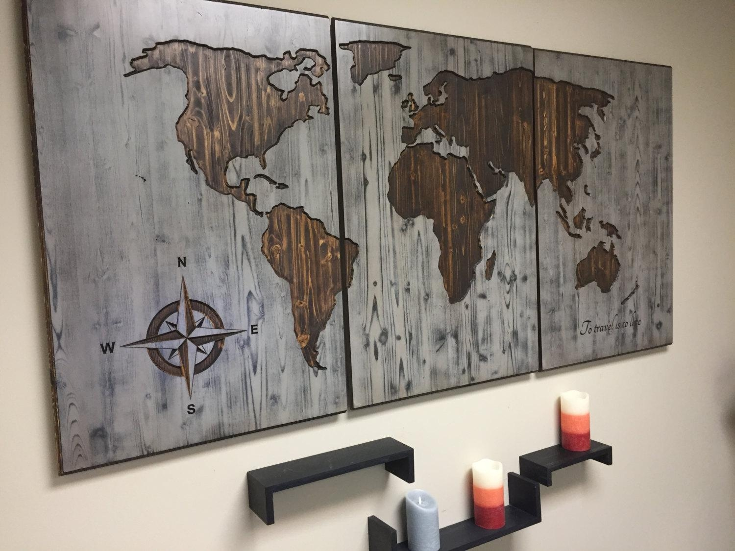 World Map Wood Wall Art Carved Custom Home Decor Wooden Inside World Map Wood Wall Art (View 4 of 20)