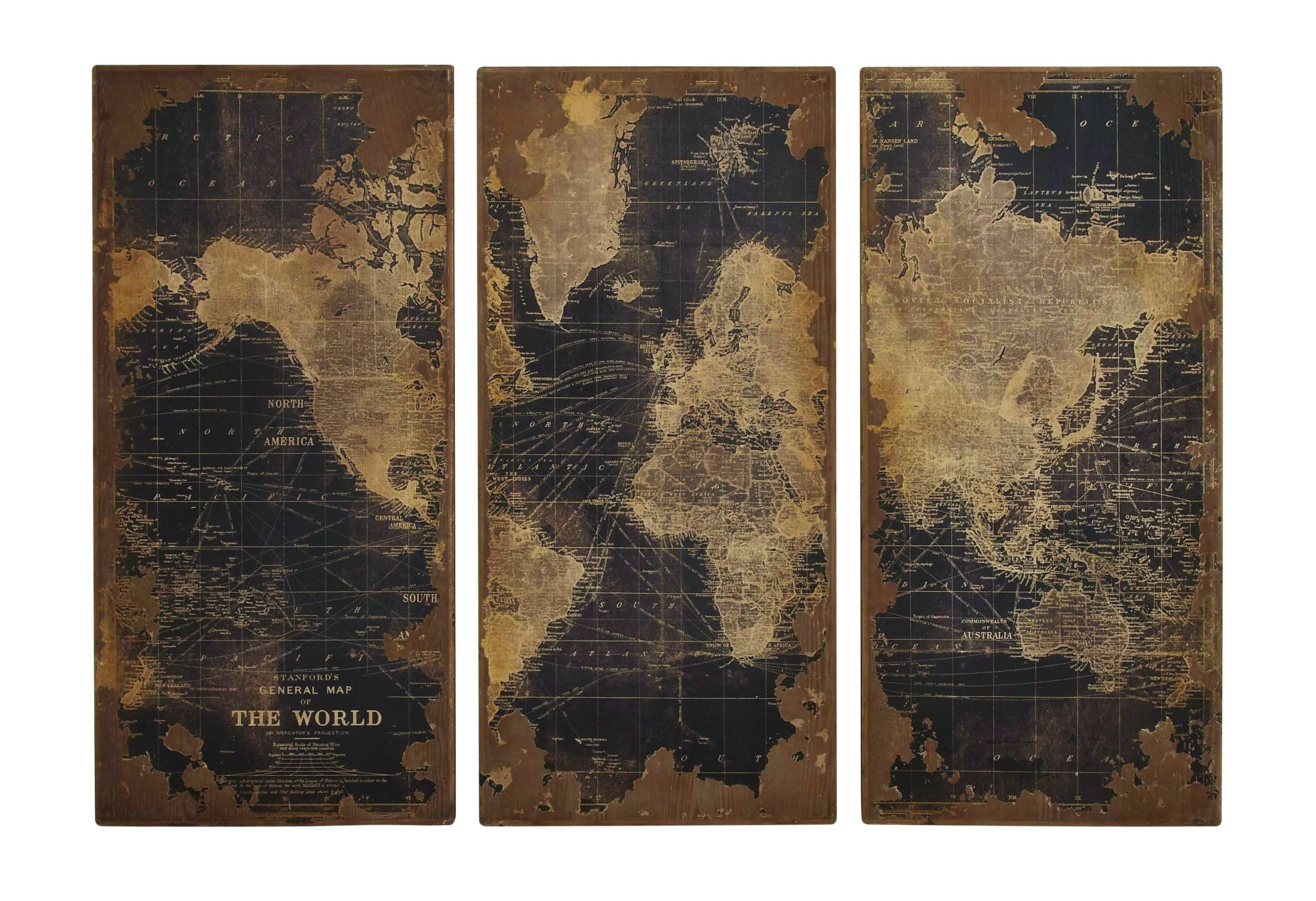 World Map Wood Wall Panels Pertaining To World Map Wood Wall Art (Image 20 of 20)