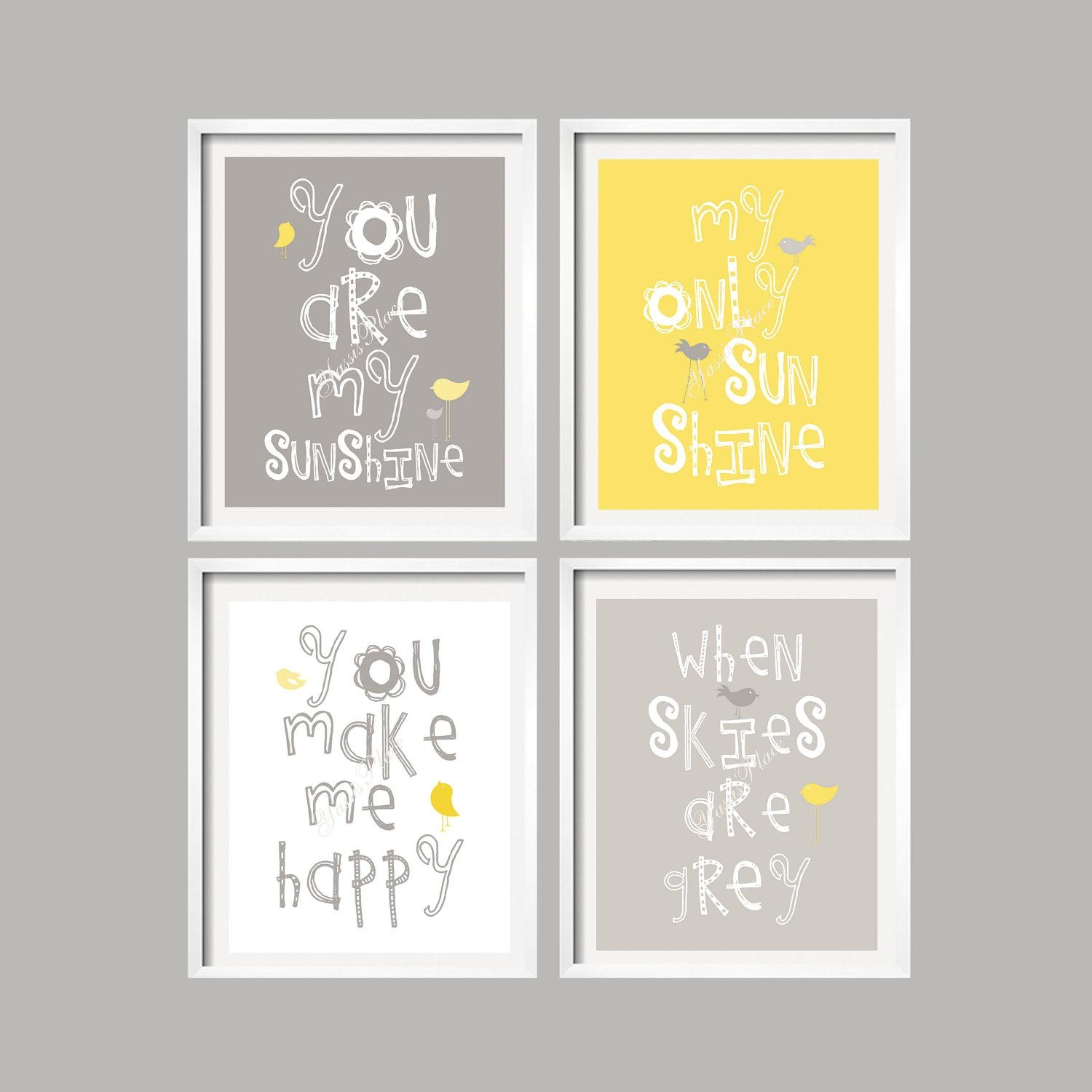 Yellow And Gray Art Prints You Are My Sunshine Nursery Wall with Kids Canvas Wall Art