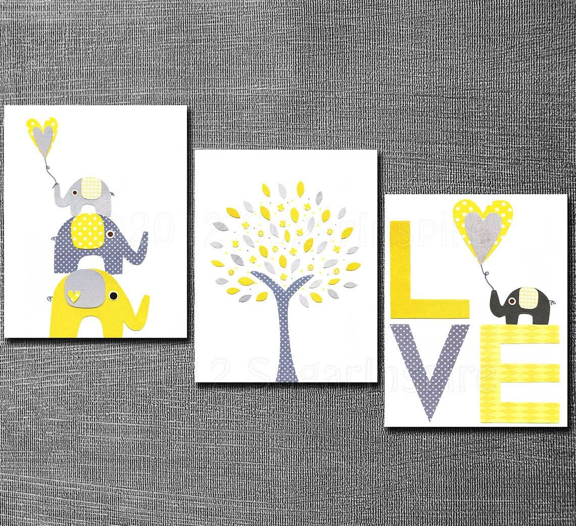 Yellow And Grey Nursery Art Print Set 5X7 Kids Room Decor pertaining to Yellow And Gray Wall Art