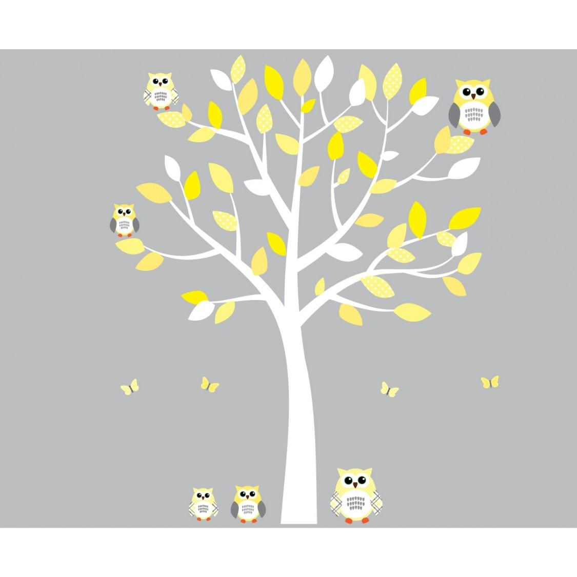 Yellow And Grey Owl Wall Art With White Tree Wall Decal For Girls intended for Yellow and Gray Wall Art