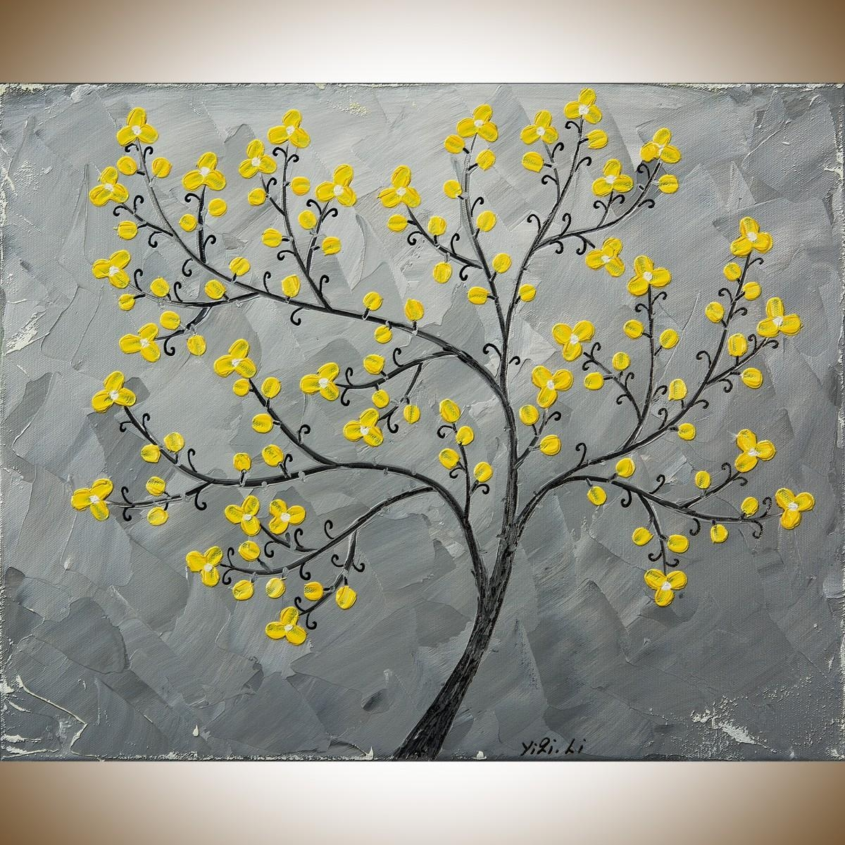 "Yellow Blossomsqiqigallery 16"" X 20"" Painting Original Artwork throughout Gray And Yellow Wall Art"