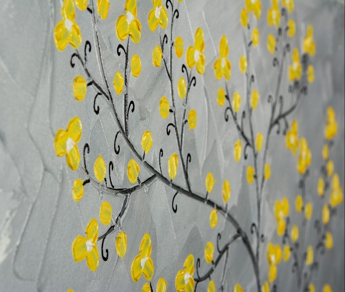 "Yellow Blossomsqiqigallery 16"" X 20"" Painting Original Artwork with regard to Gray and Yellow Wall Art"