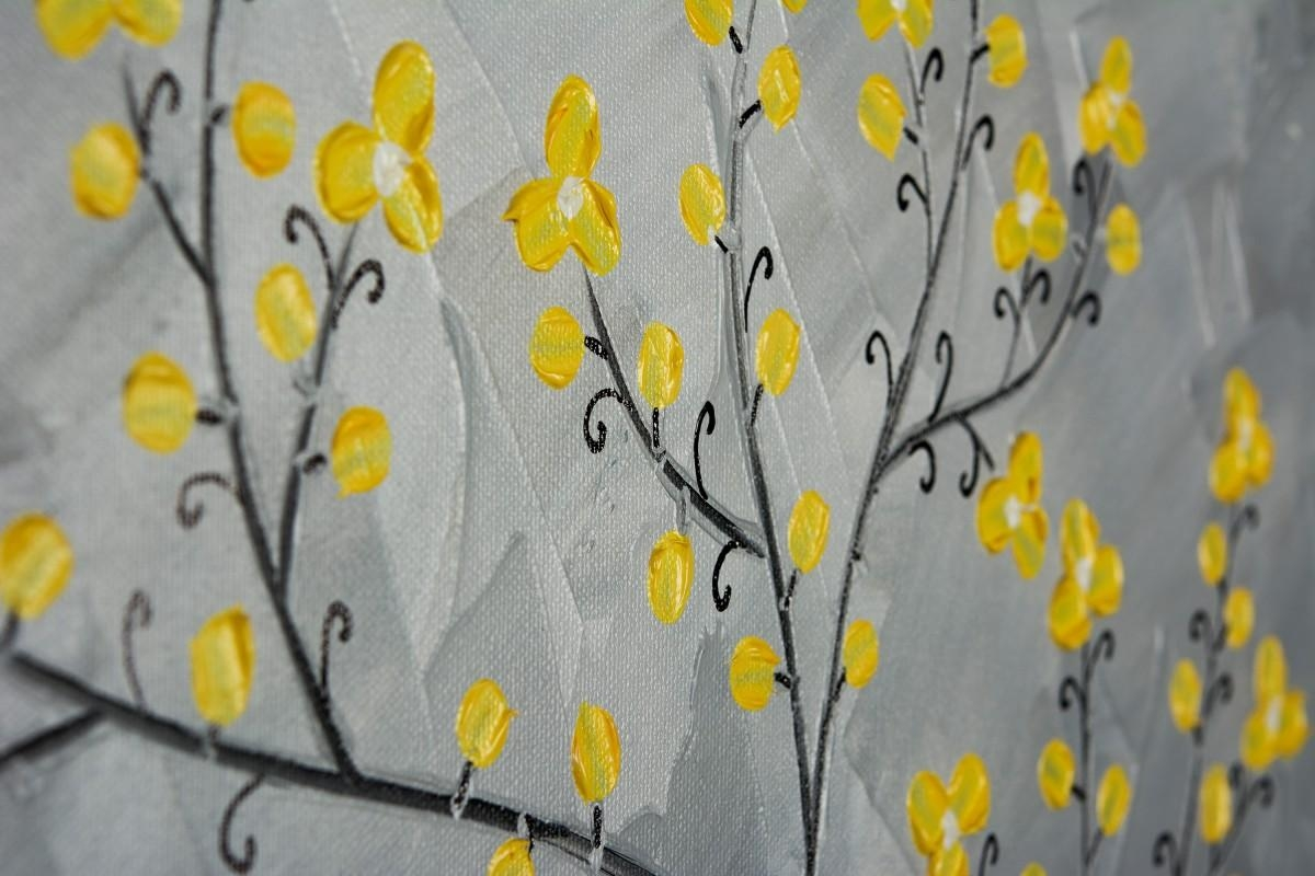 "Yellow Blossomsqiqigallery 16"" X 20"" Painting Original Artwork With Yellow And Gray Wall Art (Image 15 of 20)"