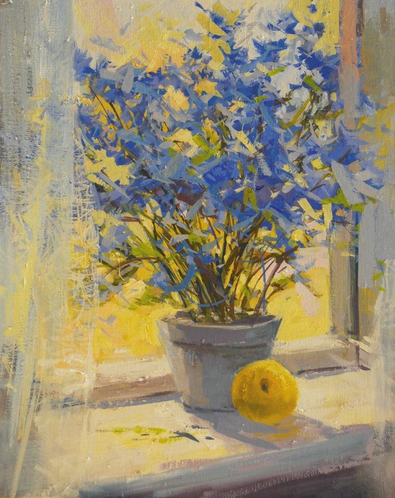Yellow Blue Flowers Painting Print Floral Canvas Art Yellow Pertaining To Yellow And Blue Wall Art (View 11 of 20)