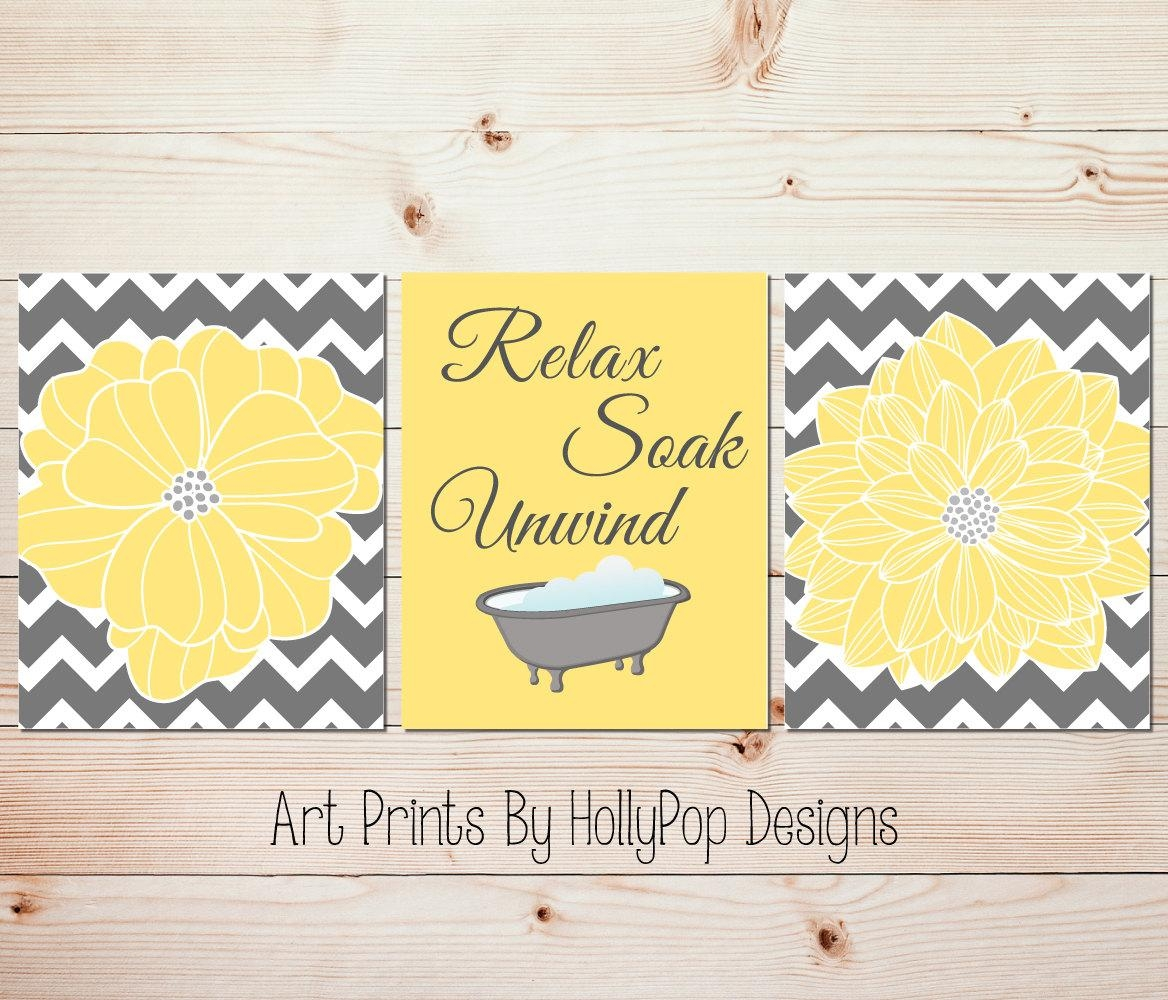 Yellow Gray Bathroom Wall Decor Bathroom Art Prints Yellow Intended For Yellow And Gray Wall Art (Image 16 of 20)