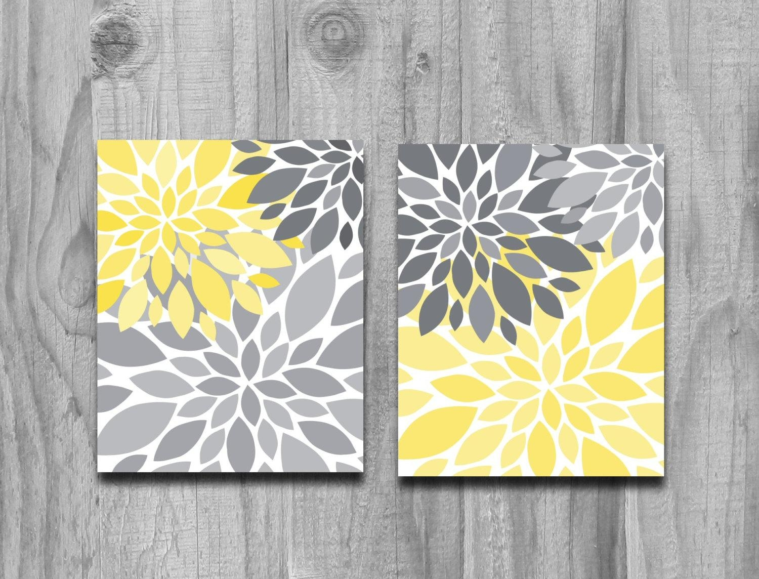 Yellow Gray Flower Petals Burst Canvas Or Print Set Home Decor inside Gray and Yellow Wall Art