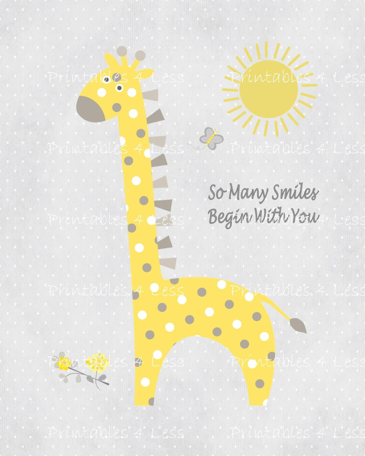 Yellow Gray Giraffe Wall Art Printable Giraffe Art Diy Intended For Yellow And Gray Wall Art (Image 17 of 20)