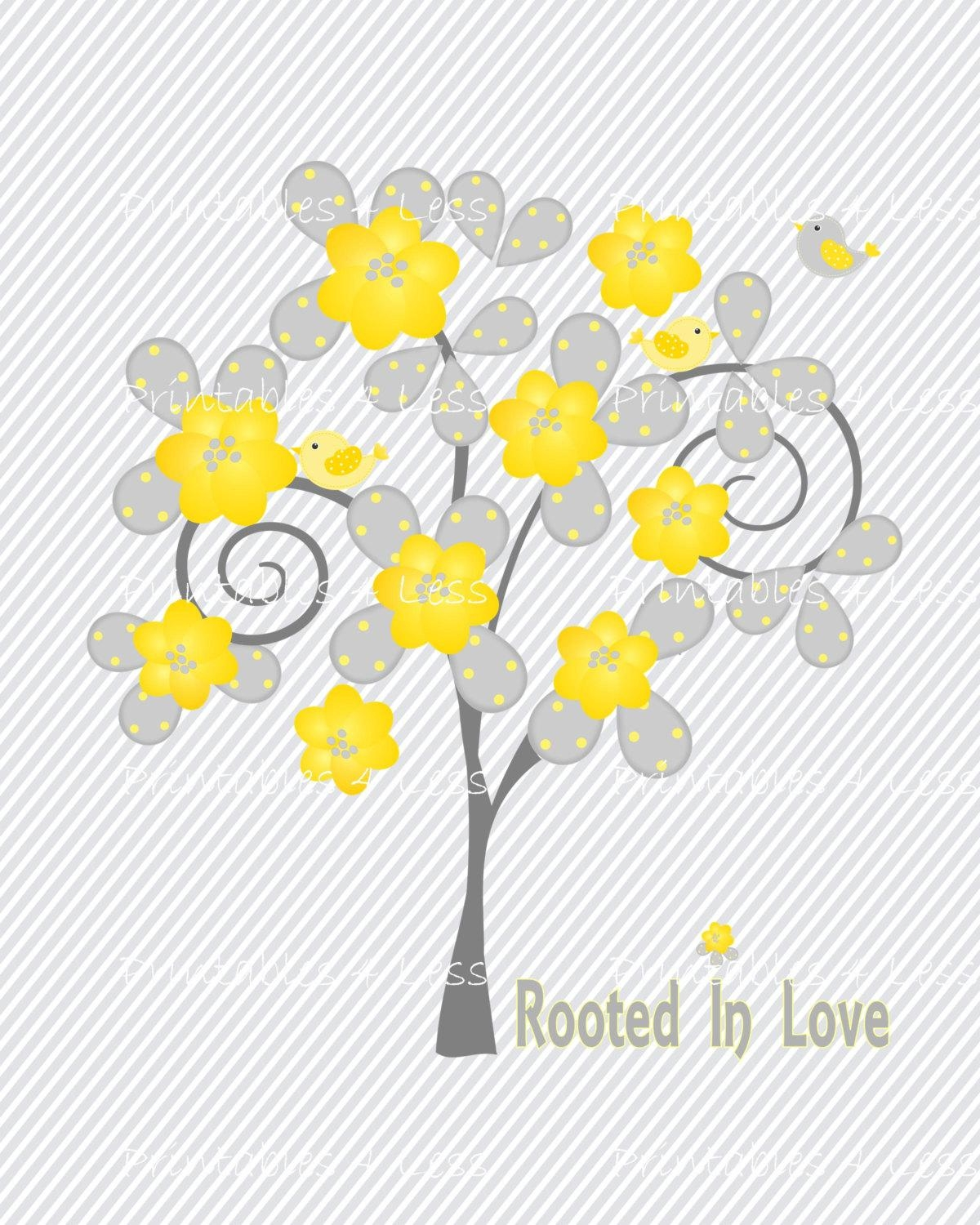 Yellow Gray Tree Wall Art Diy Tree And Bird Wall Art Diy for Gray And Yellow Wall Art