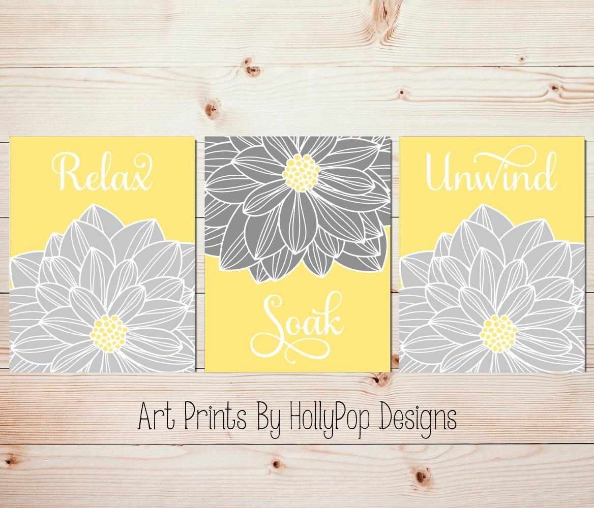 Yellow Gray Wall Art Bathroom Wall Art Relax Soak Unwind Throughout Yellow And Gray Wall Art (Image 18 of 20)