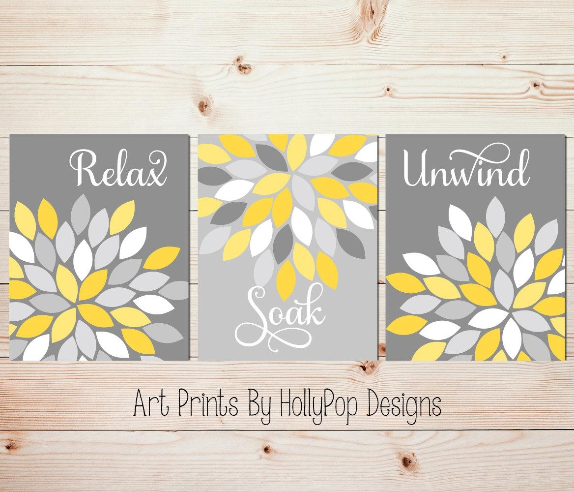 Yellow Gray Wall Art Set Of 3 Bathroom Prints Bathroom Wall Inside Yellow Grey Wall Art (Image 19 of 20)