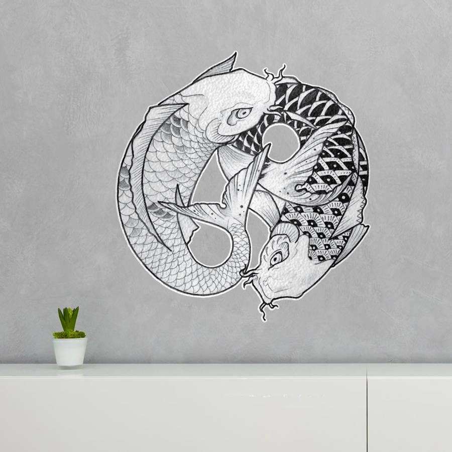 Ying Yang Koi Fish Wall Art Stickerkitty Fostervinyl intended for Yin Yang Wall Art