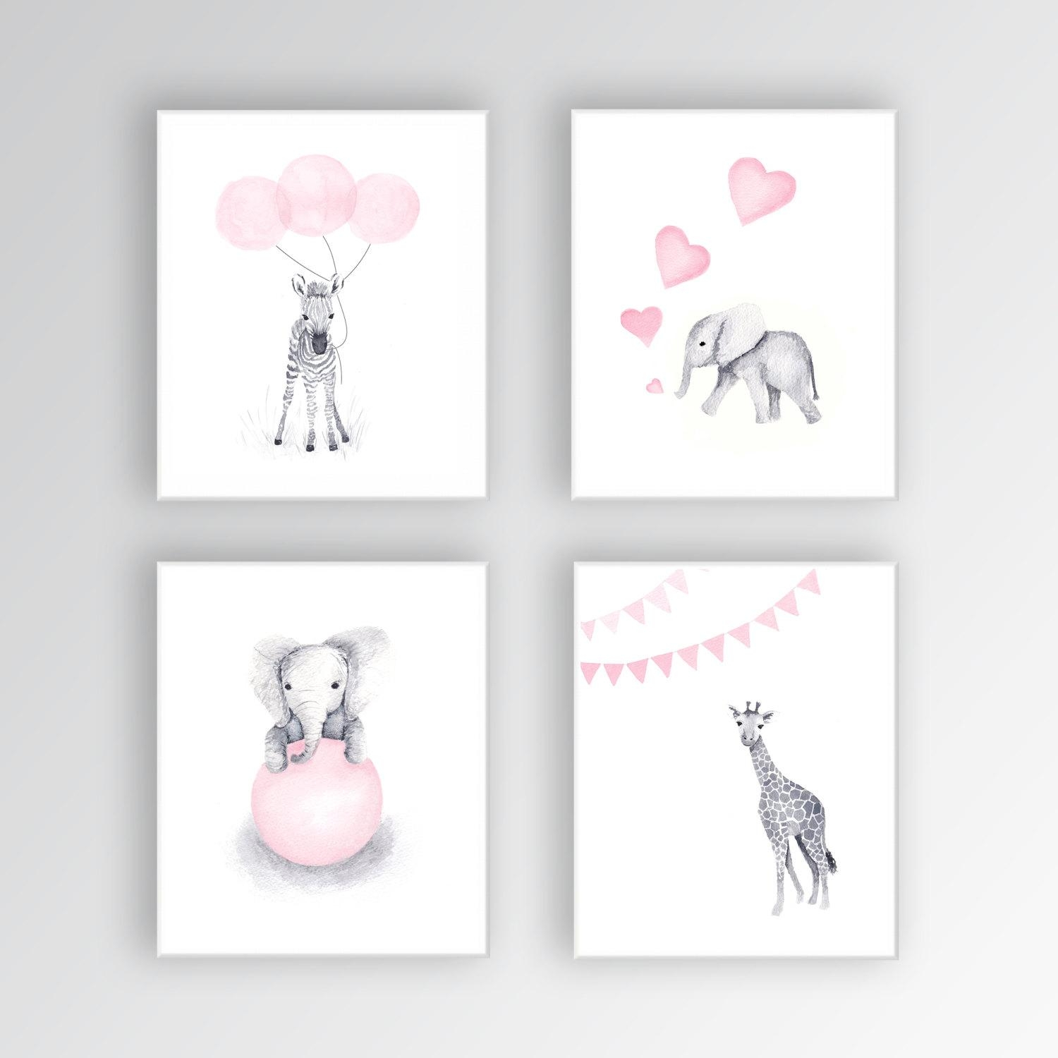 Zebra Canvas Art Baby Girl Nursery Art Animal Watercolor Intended For Nursery Canvas Art (Photo 2 of 20)