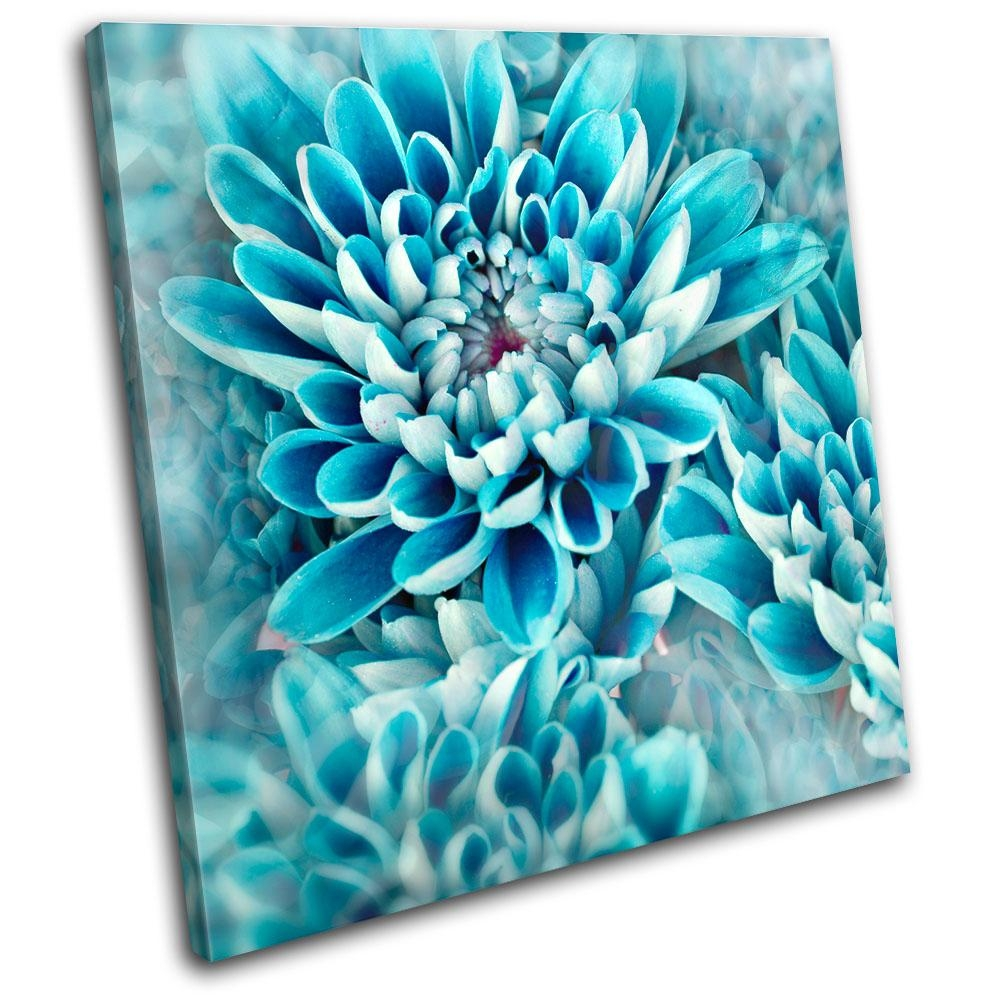 Zinnia Blue Flower Floral Single Canvas Wall Art Picture Print Va Inside Teal Flower Canvas Wall Art (View 2 of 20)