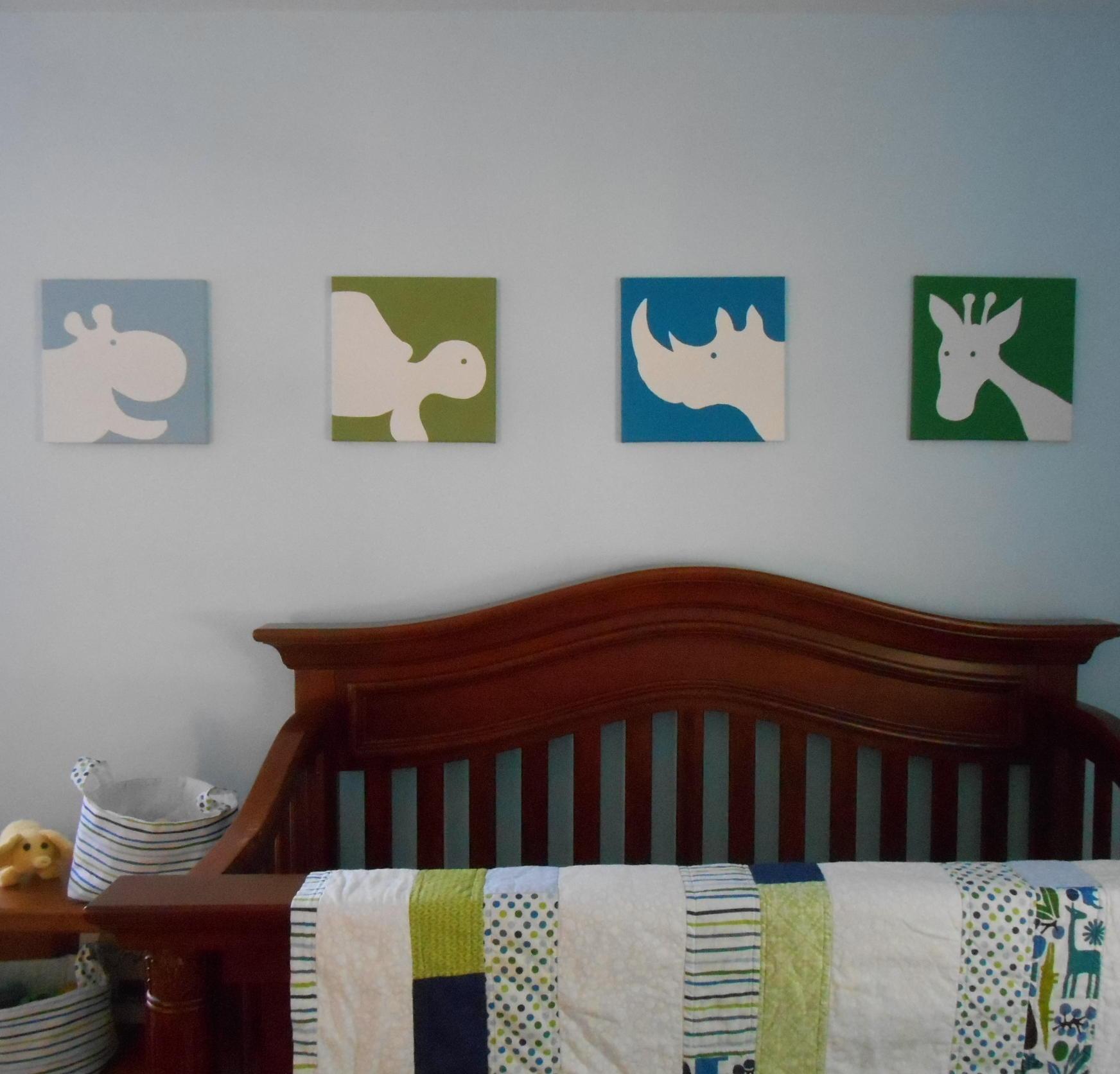 Zoo Animal Nursery Art Canvas Hand Painted Set Of 4 - Midwood Design for Nursery Canvas Art