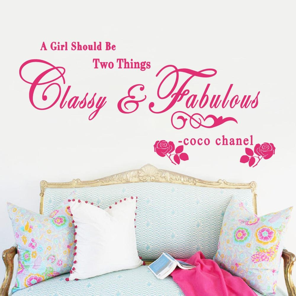 Zy8380 New Exports Rose English Proverbs Coco Chanel Pvc Removable Inside Coco Chanel Wall Stickers (Photo 16 of 20)