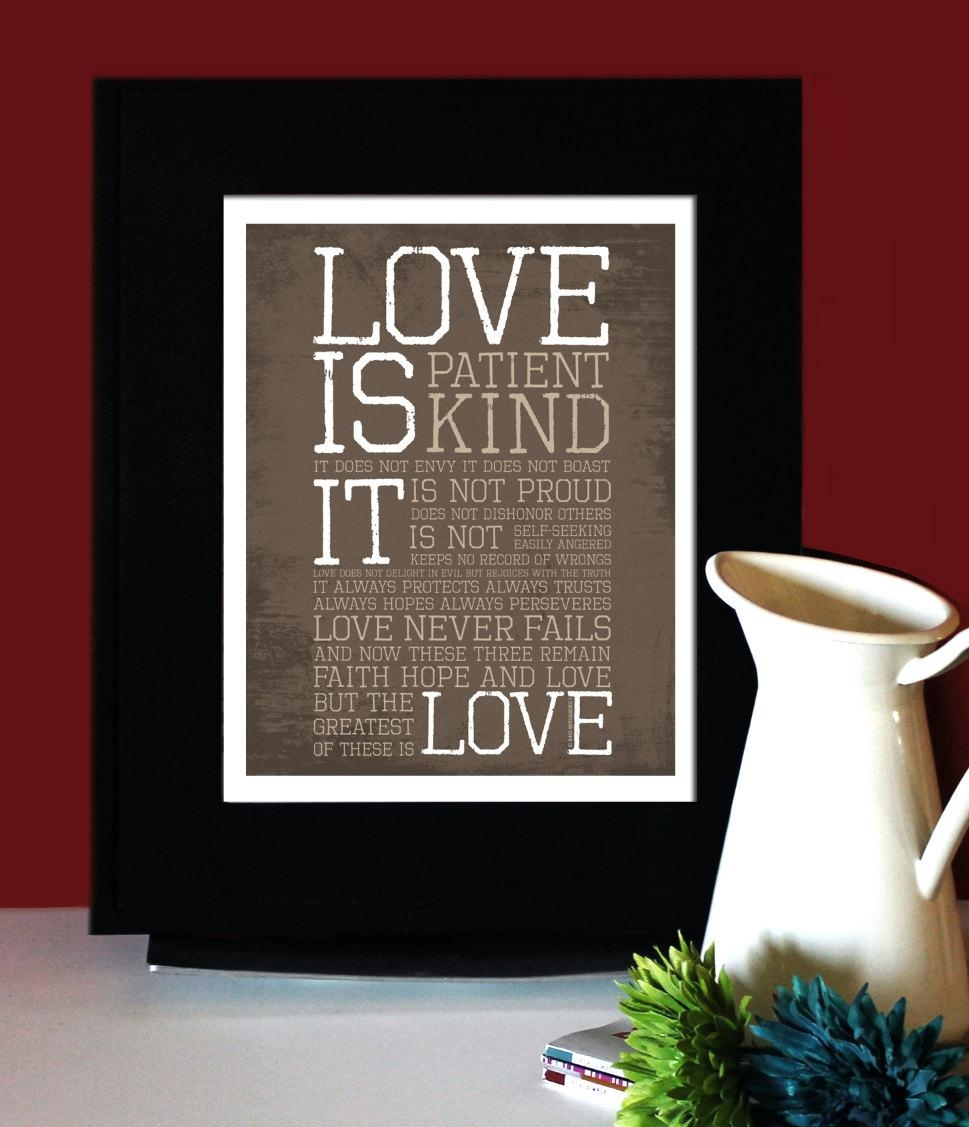 1 Corinthians 13: Love Inspirational Quote Love Is Inside Love Is Patient Love Is Kind Wall Art (Image 2 of 20)