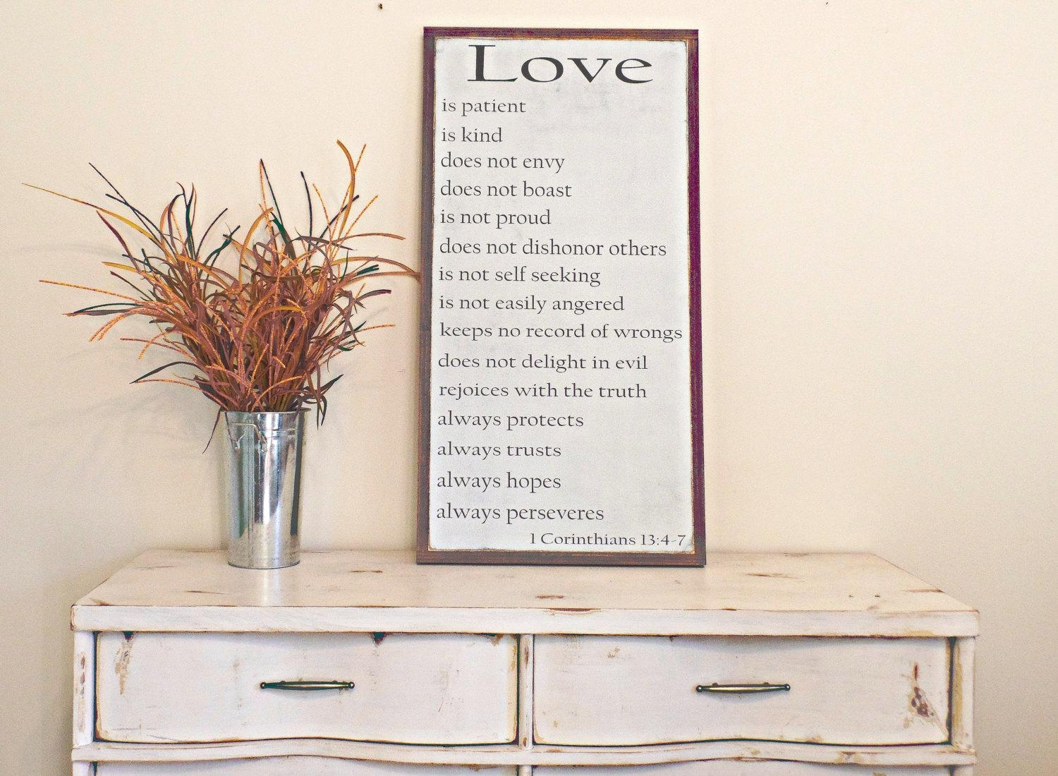 1 Corinthians 13 Wood Sign Love Wooden Sign Bible Verse Wall Throughout 1 Corinthians 13 Wall Art (Image 2 of 20)