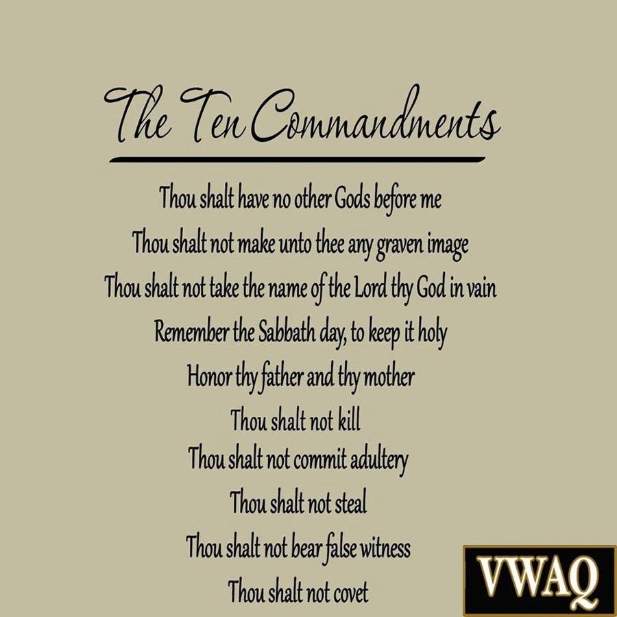10 Commandments The Ten Commandments Wall Decals Quotes Words Intended For 10 Commandments Wall Art (Image 1 of 20)