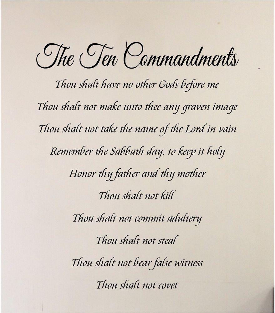 10 Commandments Wall Sticker Wall Art Vinyl Decals Religious Ten For Ten Commandments Wall Art (Image 3 of 20)