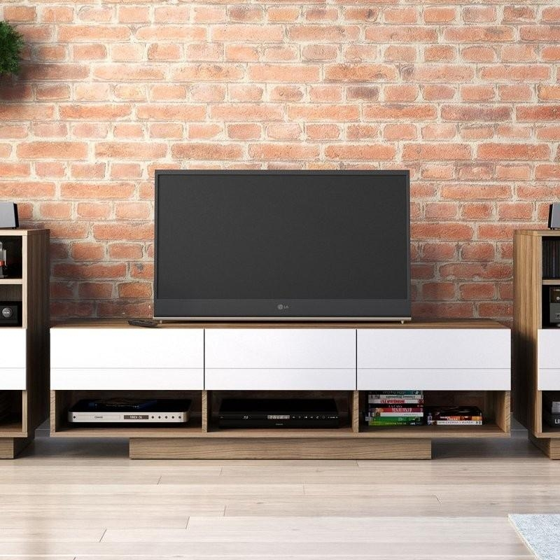105140 Sequence Tv Stand In 60 Inch In Walnut And White | Nexera Inside Best And Newest Nexera Tv Stands (Image 1 of 20)