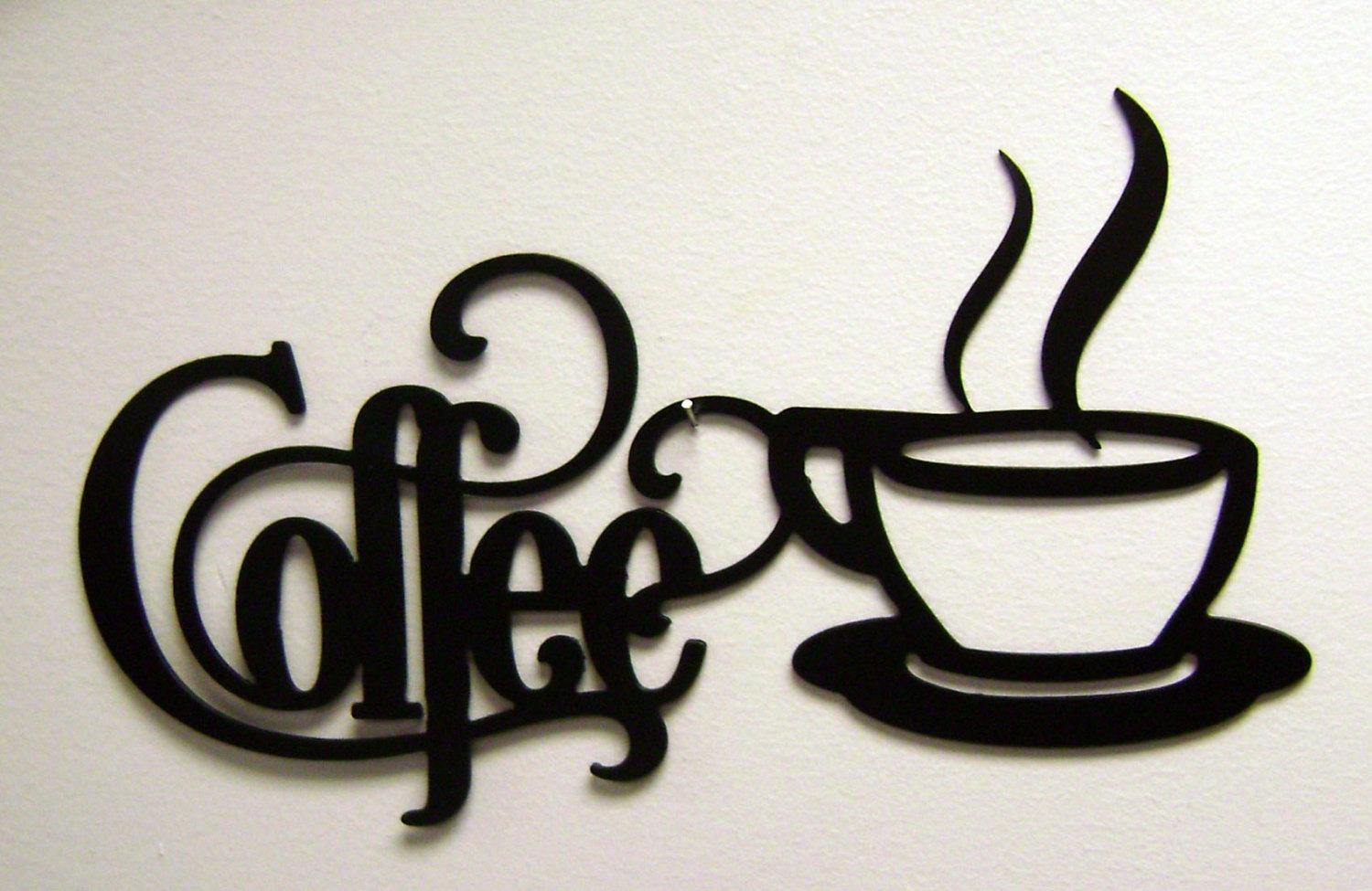 14 X 7 Bistro Coffee Sign With Mug Metal Wall In Coffee Bistro Wall Art (Image 1 of 20)