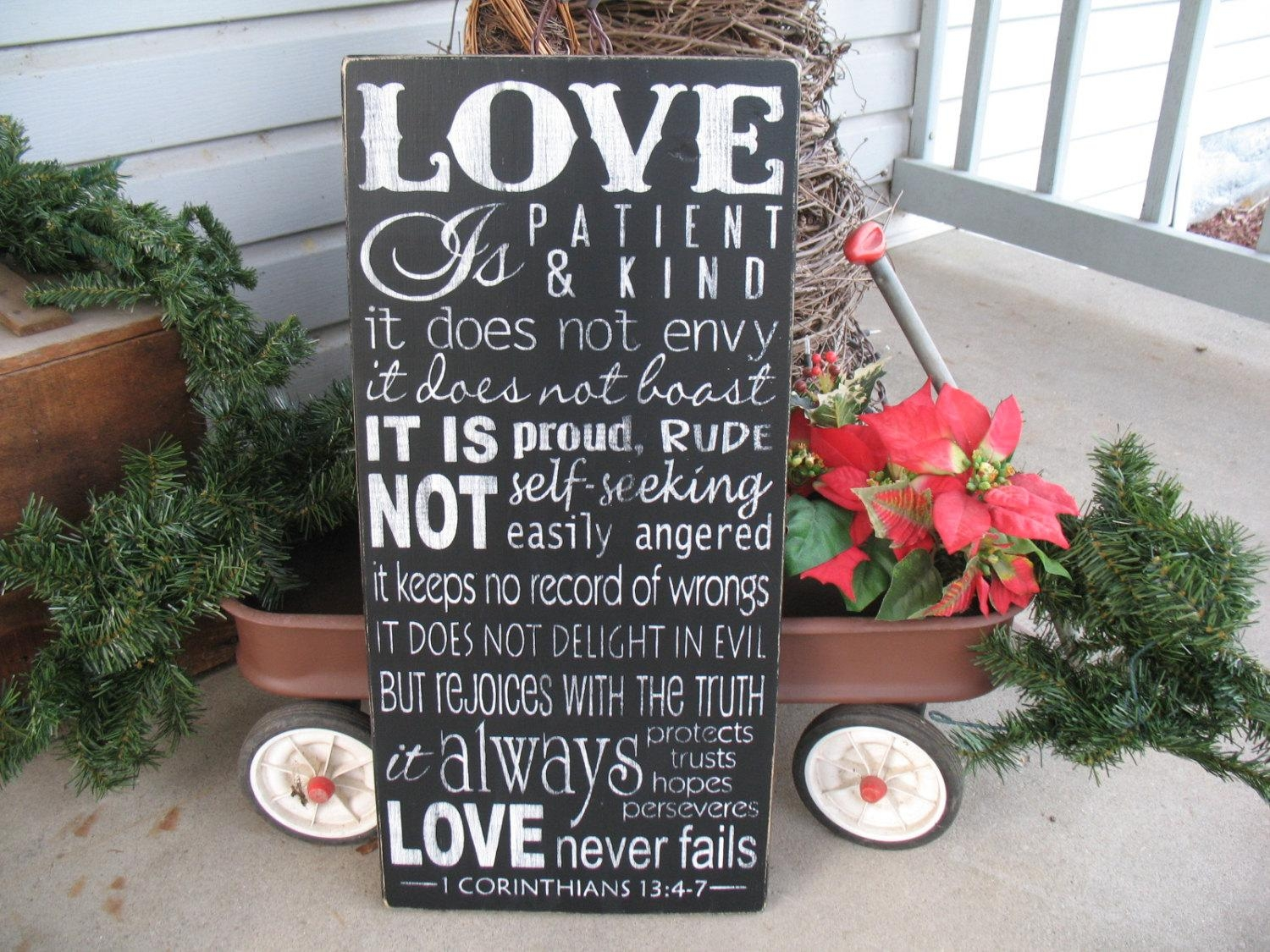 18X36 Inches 1 Corinthians 13 Love Is Patient Love Is In Love Is Patient Love Is Kind Wall Art (Image 4 of 20)