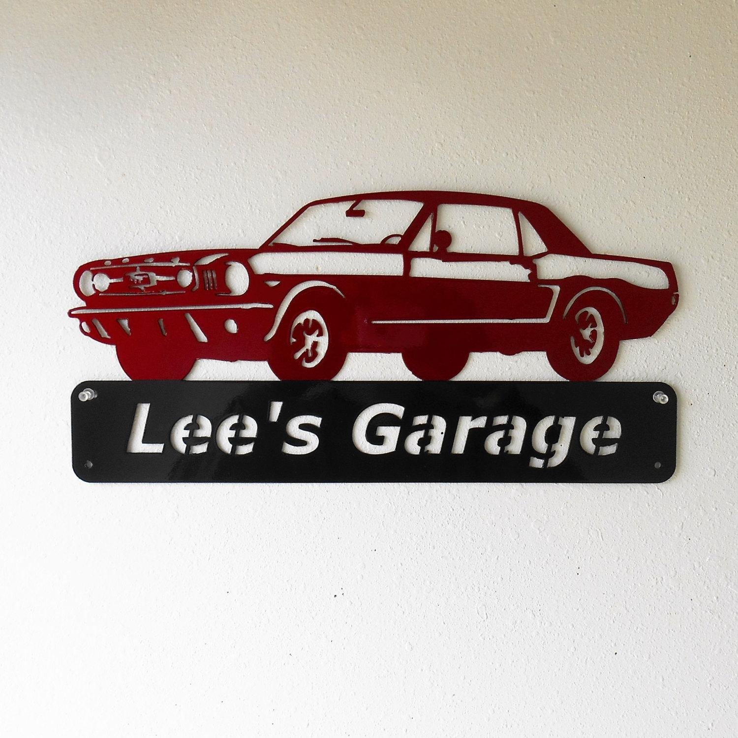 1965 Ford Mustang Personalized – Man Cave Garage Sign Car Art Inside Ford Mustang Metal Wall Art (View 2 of 20)