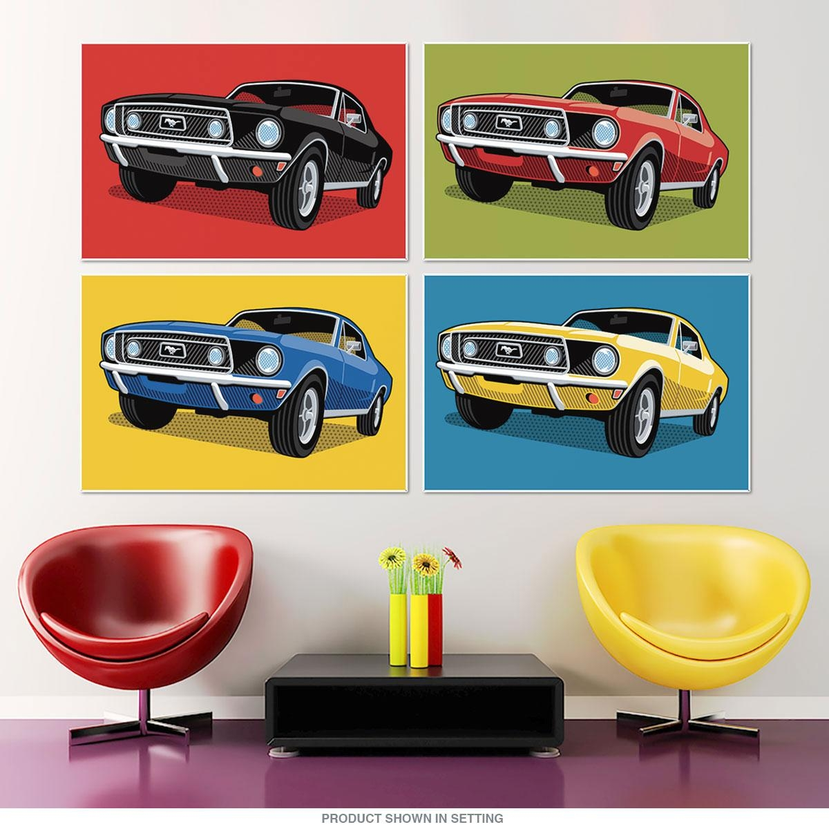 1968 Ford Mustangs Pop Art Quadriptych Metal Wall Art 48 X 32 In Ford Mustang Metal Wall Art (View 10 of 20)