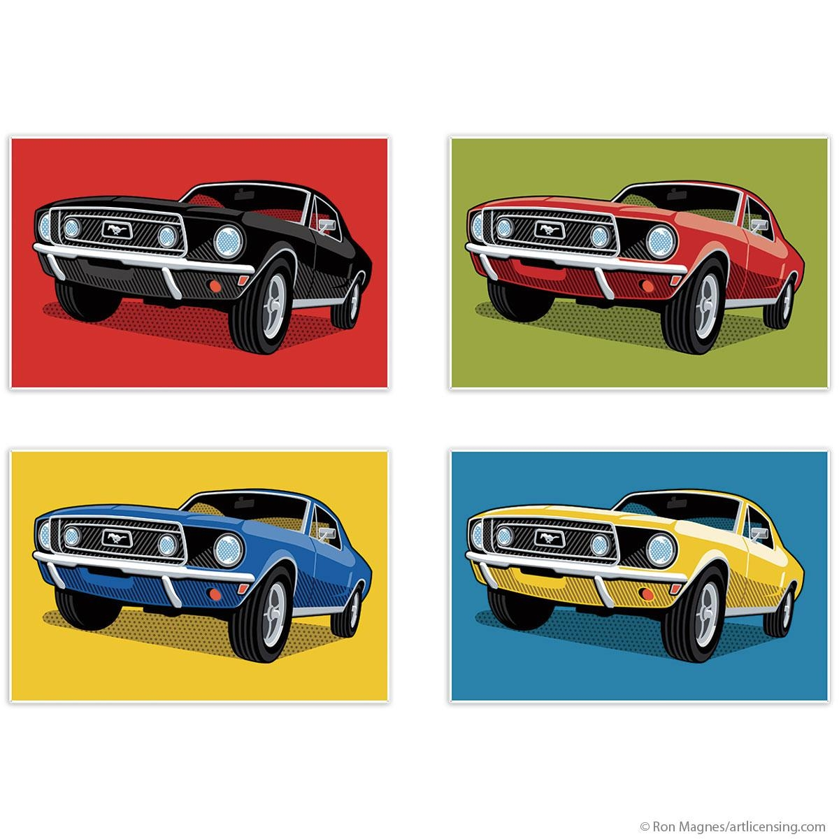 1968 Ford Mustangs Pop Art Quadriptych Metal Wall Art 48 X 32 Intended For Ford Mustang Metal Wall Art (View 7 of 20)