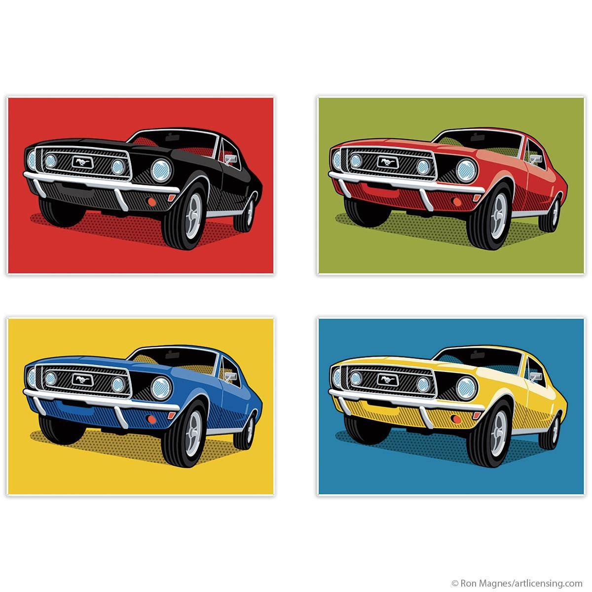 1968 Ford Mustangs Pop Art Quadriptych Metal Wall Art 48 X 32 Intended For Ford Mustang Metal Wall Art (Image 3 of 20)