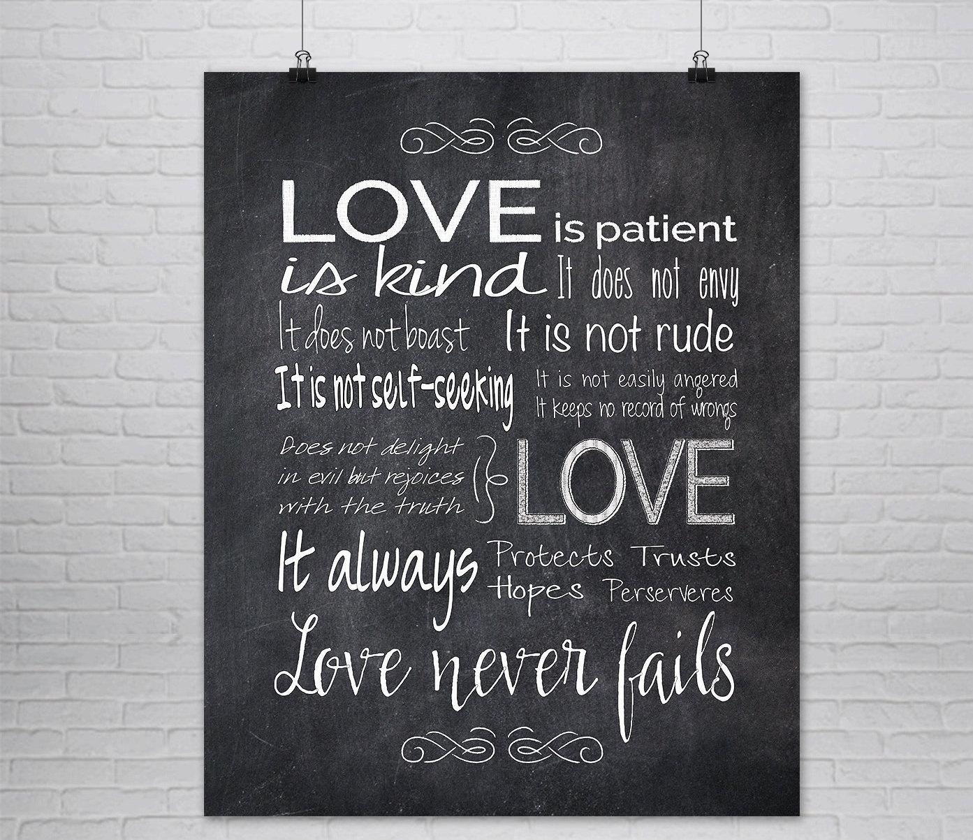 1St Corinthians 13 Print Love Is Patient Love Is Kind Chalk For Love Is Patient Love Is Kind Wall Art (Image 5 of 20)
