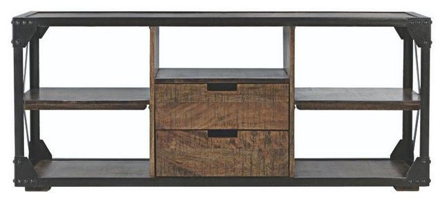 2 Drawer Media Stand In Antique Natural – Industrial – Media With Most Recent Industrial Metal Tv Stands (Image 1 of 20)