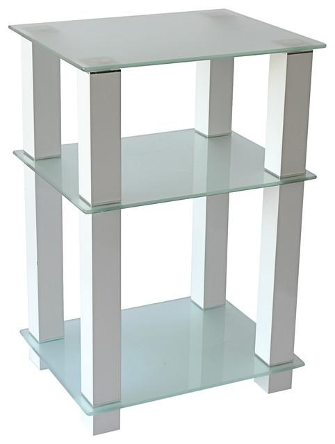 "20"" Extra Tall Glass And White Tv Stand And Utility Table Or End Throughout Most Current White Glass Tv Stands (Image 1 of 20)"