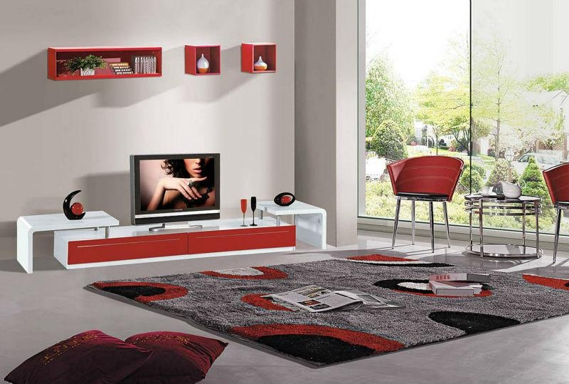 2014 Modern Design Red Tv Wall Unit Was Made From E1 Mdf Board And Pertaining To Current Red Tv Units (Image 1 of 20)