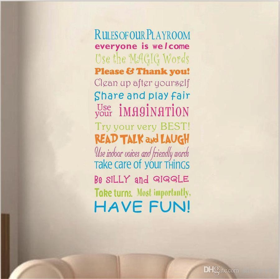 2016 New Playroom Rules Wall Quote Decal Decor Kids Room Lettering For Playroom Rules Wall Art (Image 2 of 20)