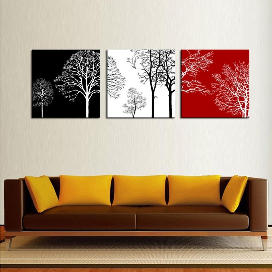 2017 3 Picture Combination Canvas Painting Wall Art Black White Inside Red And Black Canvas Wall Art (Image 1 of 20)
