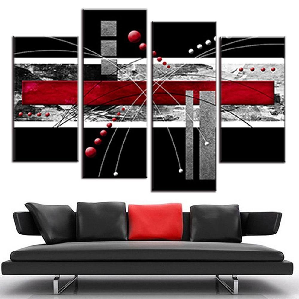 2017 Canvas Wall Art Picture Red Black Grey Combined Painting Intended For Red And Black Canvas Wall Art (Image 2 of 20)