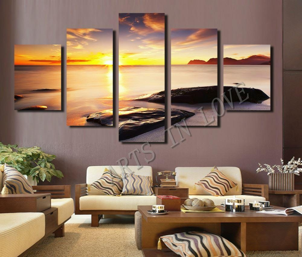 2017 Hot Sell Diamond Sunset Beach Stone Modern Home Wall Decor In Five Piece Wall Art (View 8 of 20)