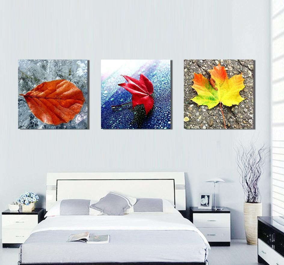 2017 No Framed Canvas Art Colorful Leaf Digital Painting Wall Art For Three Piece Canvas Wall Art (Image 1 of 20)