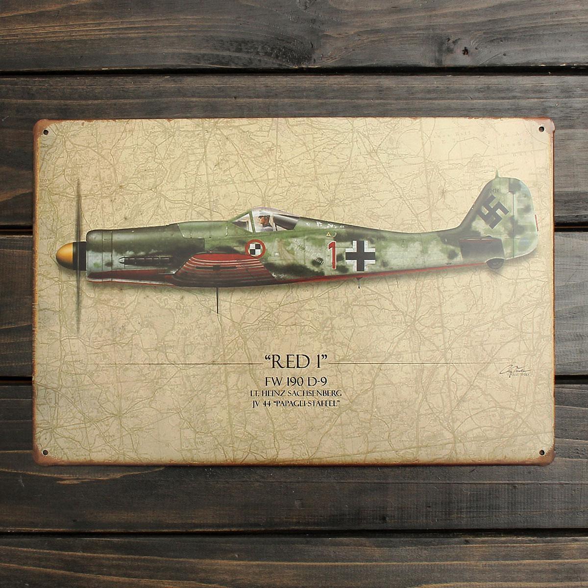 20X30Cm World War Vintage Military Battle Plane Sheet Metal In Sheet Metal Wall Art (View 20 of 20)