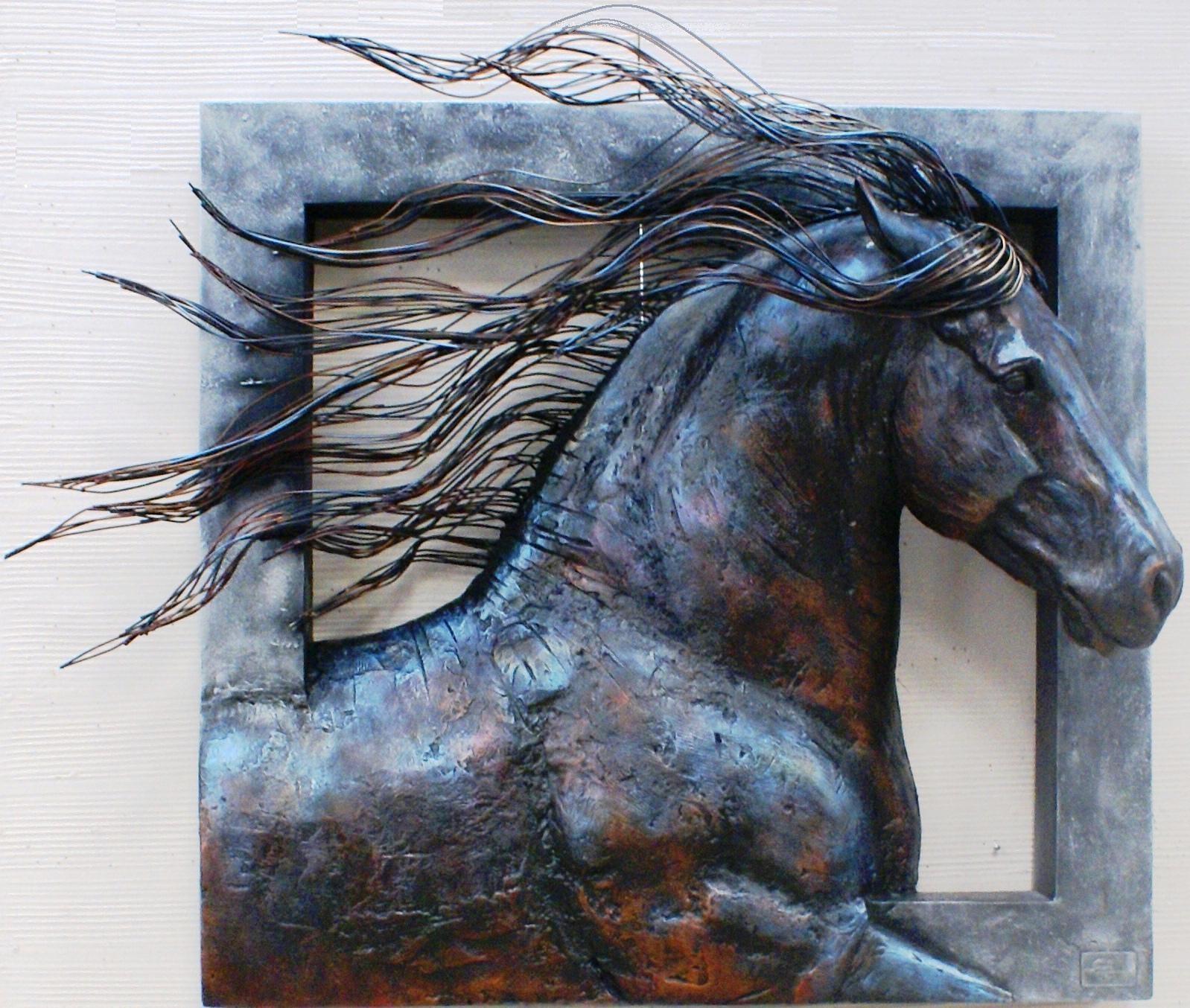 3 D Friesian Horse Metal & Resin Fiberglass Wall Sculpture Throughout Metal Animal Heads Wall Art (Image 2 of 20)